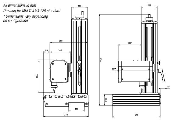 Standard bench-top configuration dimensions