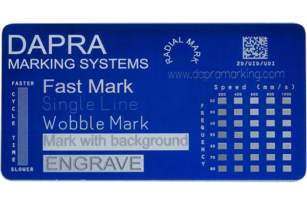 Crisp, high-contrast laser marking on colored anodized aluminum plates and tags