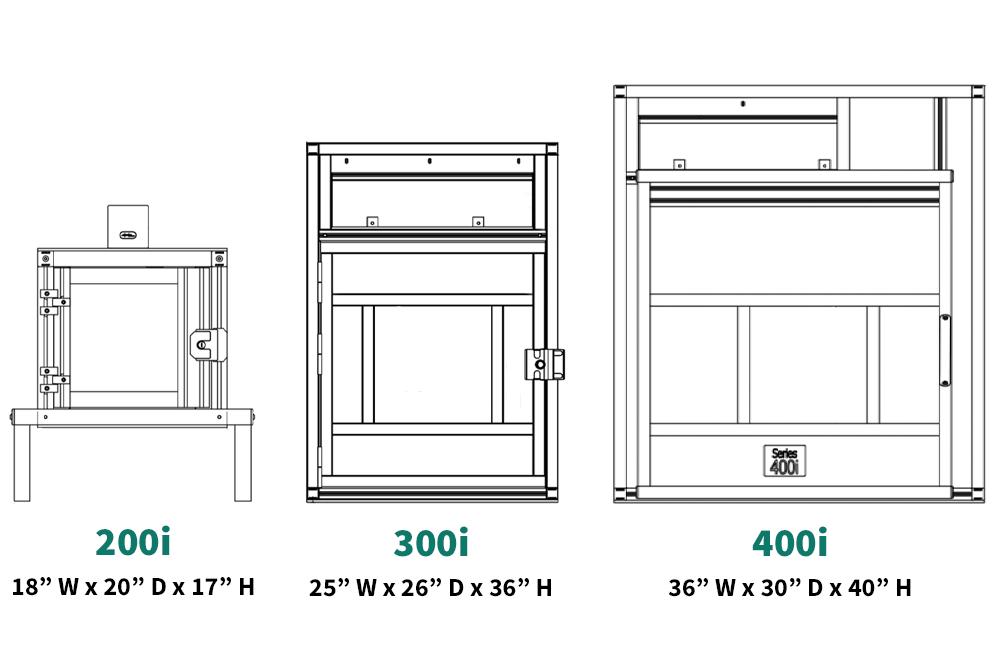 Three standard laser marking safety cabinet sizes