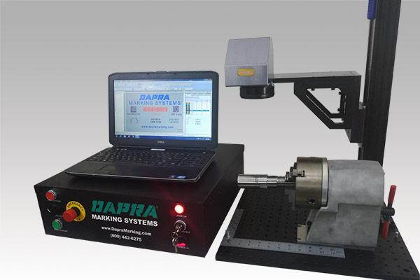 Open laser marking system with rotary axis
