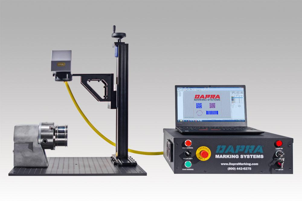 Class 4 fiber laser part marking workstation with optional rotary
