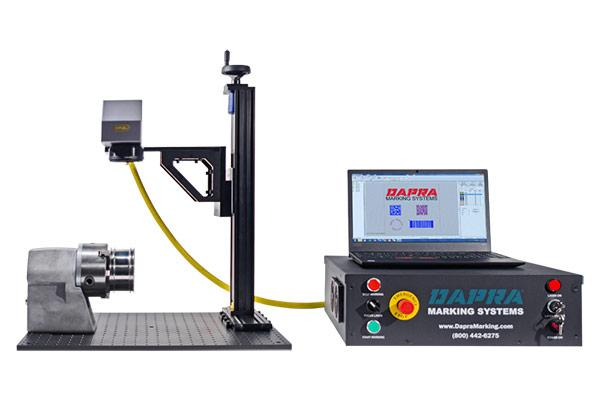 Open-style laser part marking workstation with optional rotary
