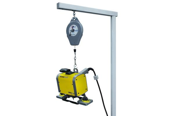 Portable part marking head with magnetic locator on counterbalance