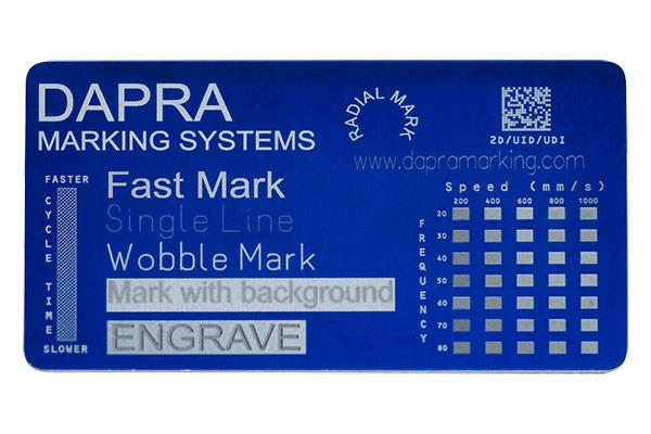 Accurate, fast marking of data plates and anodized aluminum