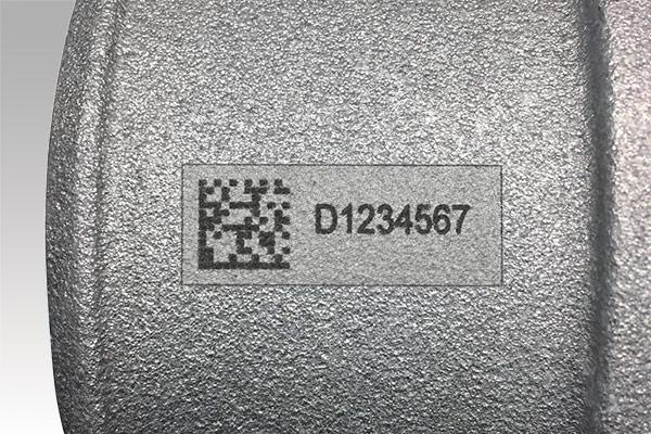 Accurate human-readable text and 2D barcode on industrial, rough metal part