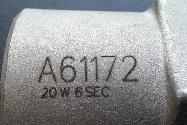 High-contrast mark on an aluminum casting